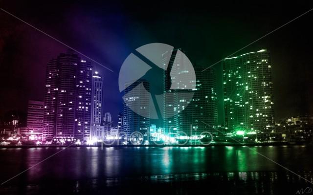 City wth neon lights