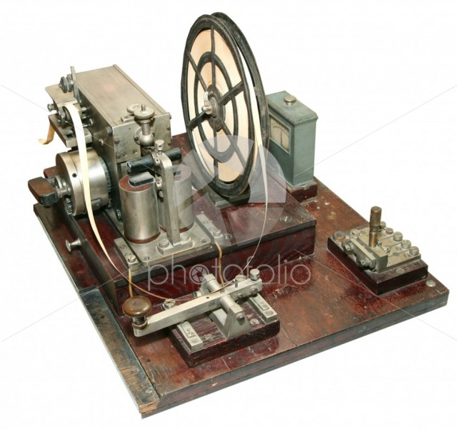 Isolated vintage morse telegraph machine