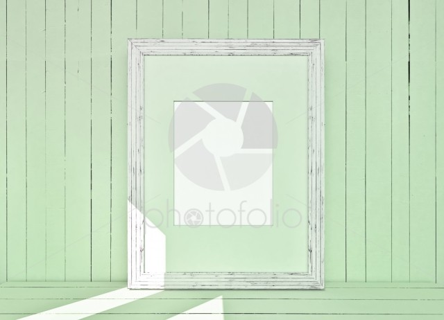 White canvas on wooden plank green background