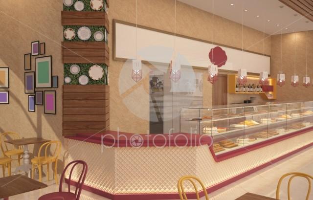 3d rendering of a patisserie interior design