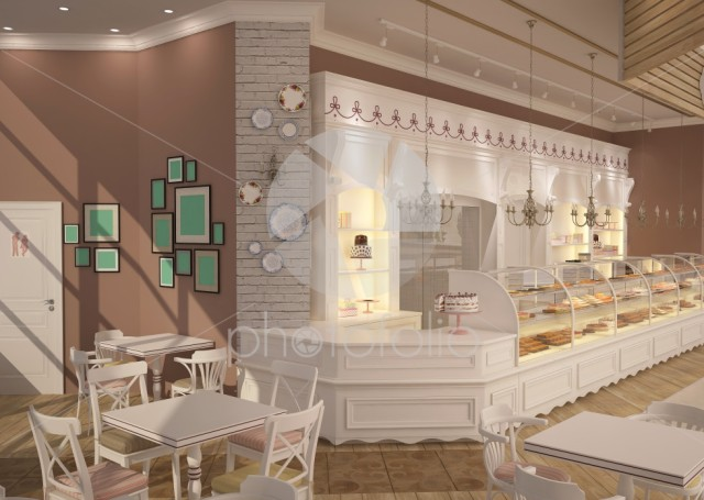 3d rendering of a patisserie interior design