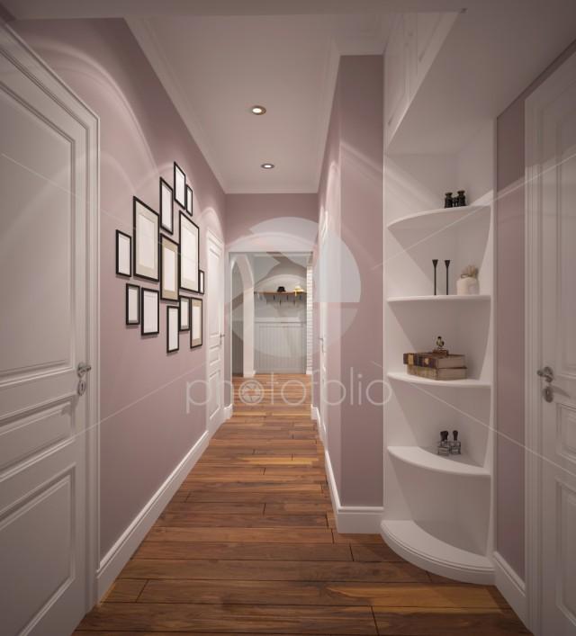3d rendering of a corridor interior design