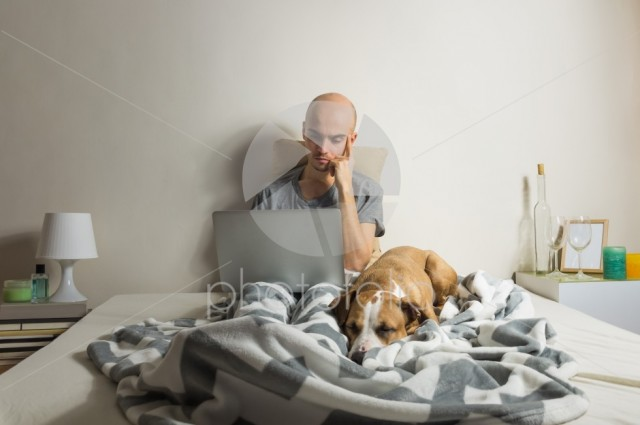 Male person sits with laptop in bed with sleeping dog