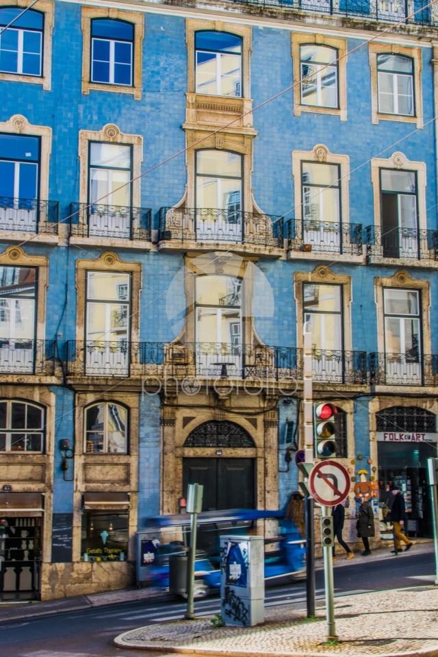 Blue tiled building, Lisbon, Portugal