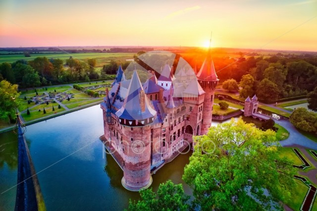 Aerial view of the medieval castle De Haar at sunset in Netherlands
