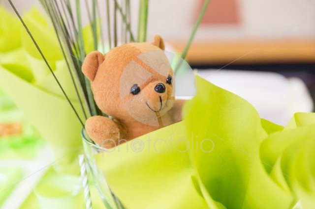 Teddy Bear in a Glass Cup with Green and White Birthday Decorations
