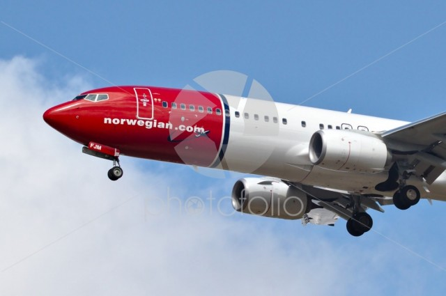 Norwegian Airlines aircraft preparing to land