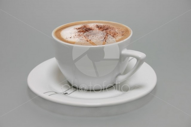 Cappucino in white cup;
