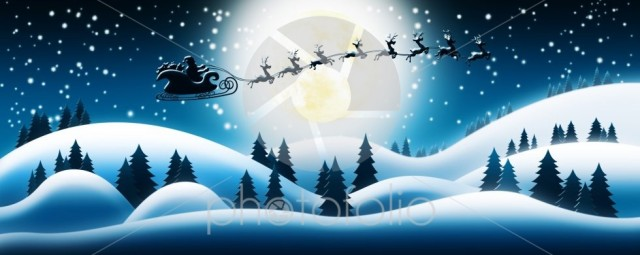 Santa Claus Rides Reindeer Sleigh in Christmas Night Over The Snow