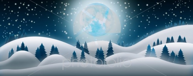 Christmas Night Background. The Snow Fields, Full Moon and Starr