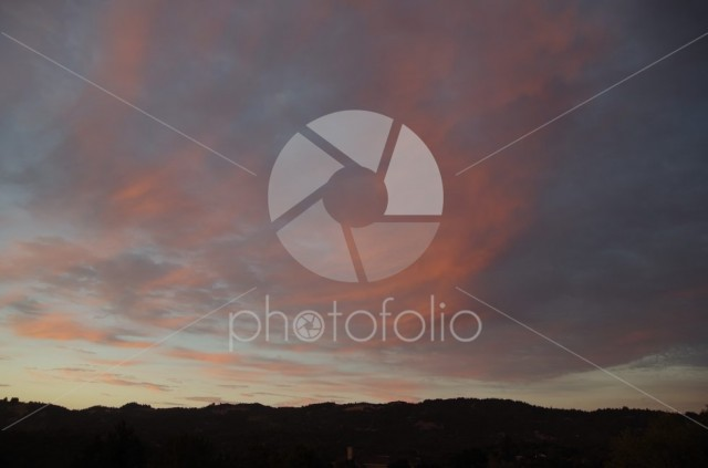 Beautiful sunset over Santa Rosa California hills.