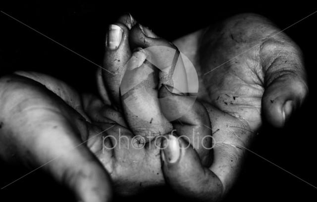 Grey hands