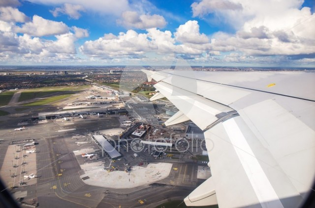 Aerial view of Copenhagen airport or Kastrup airport from window