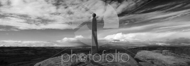 Autumn view over Admiral Nelsons monument, Birchen Edge