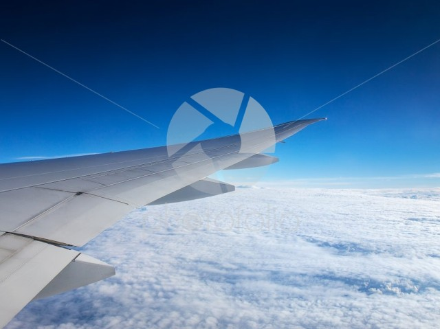 Aerial view of amazing clear blue sky and cloud after sunrise and takeoff from airport from airplane view air transportation from Asia to Europe