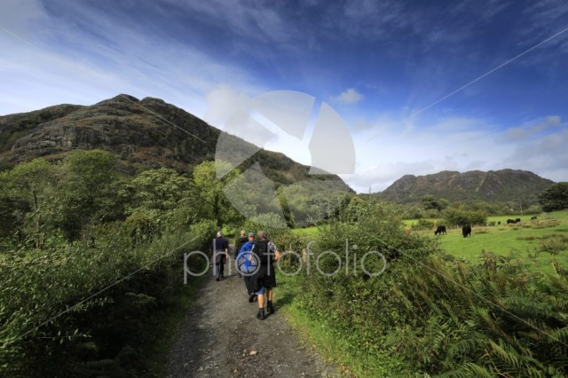 Walkers in the Yewdale Fells, Coniston town, Lake District