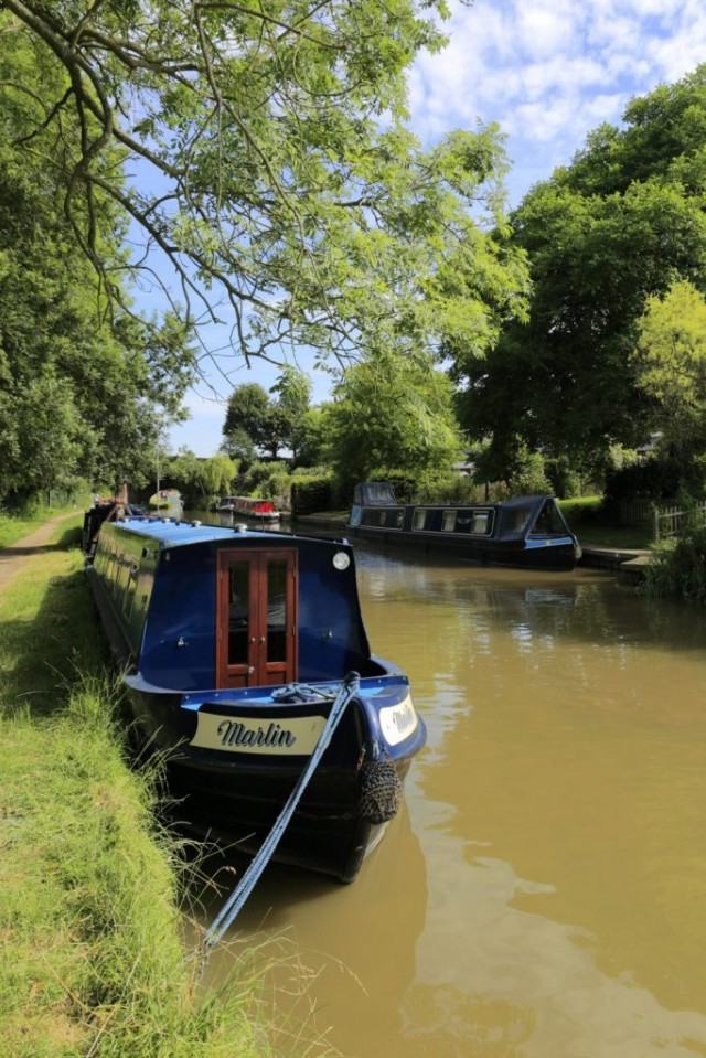 Narrowboats on the Oxford Canal at Heyford Wharf, Lower Heyford