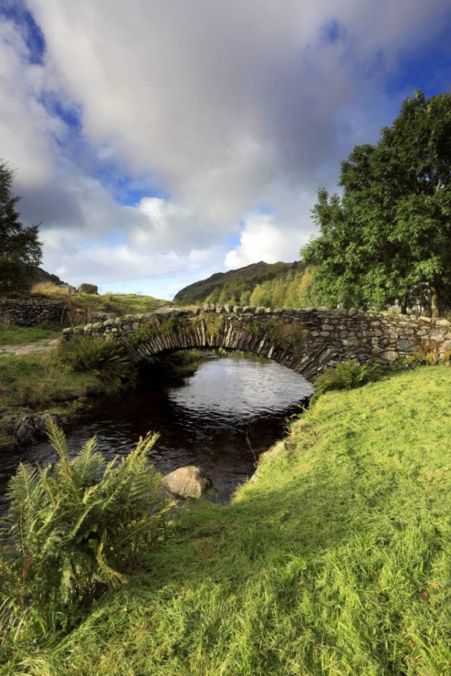 Summer, Packhorse stone bridge over Watendlath Beck, Watendlath
