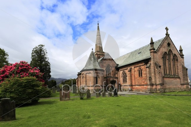 Summer, St Johns church, Keswick town; Allerdale, Lake District
