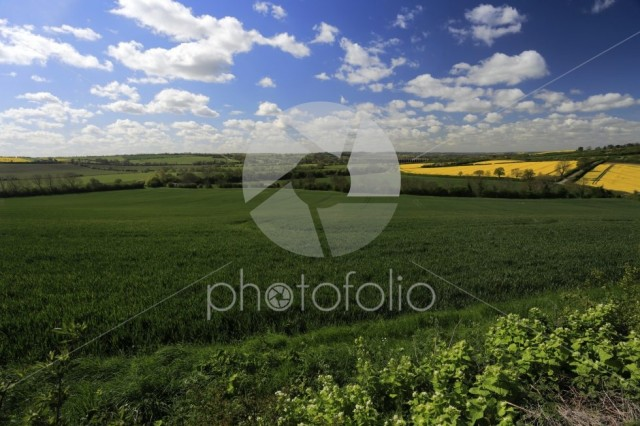 Summer view over the river Welland valley, Harringworth village,