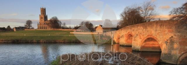 Winter sunset, St Marys Church, river Nene, Fotheringhay village