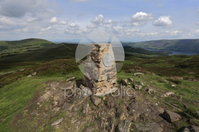 OS trig point on the summit of Gowbarrow fell, Lake District