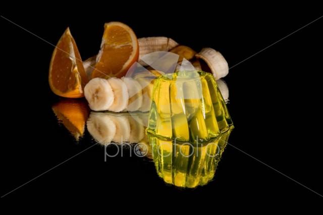 Lemon jelly and fresh fruits isolated