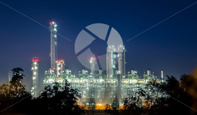 Petrochemical and petroleum plant industry with refinery stack