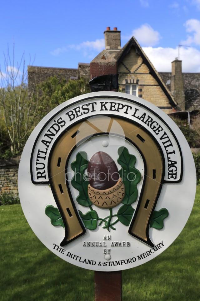 Sign on village green at Barrowden village, Rutland County