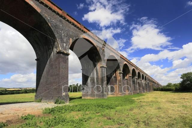 The Harringworth railway viaduct; River Welland valley