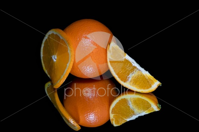 Orange and slices isolated