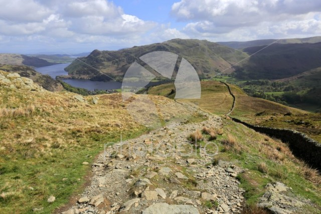 View over Patterdale Common and Ullswater lake, Lake District