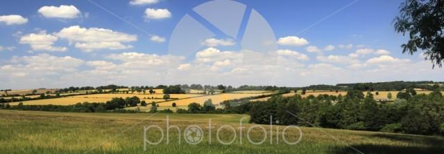 Summer landscape fields near Northleach town, Gloucestershire