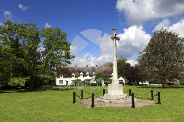 War memorial and cottages on the village Green, Ickwell village