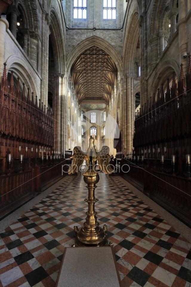 Interior of Peterborough City Cathedral, Cambridgeshire; England