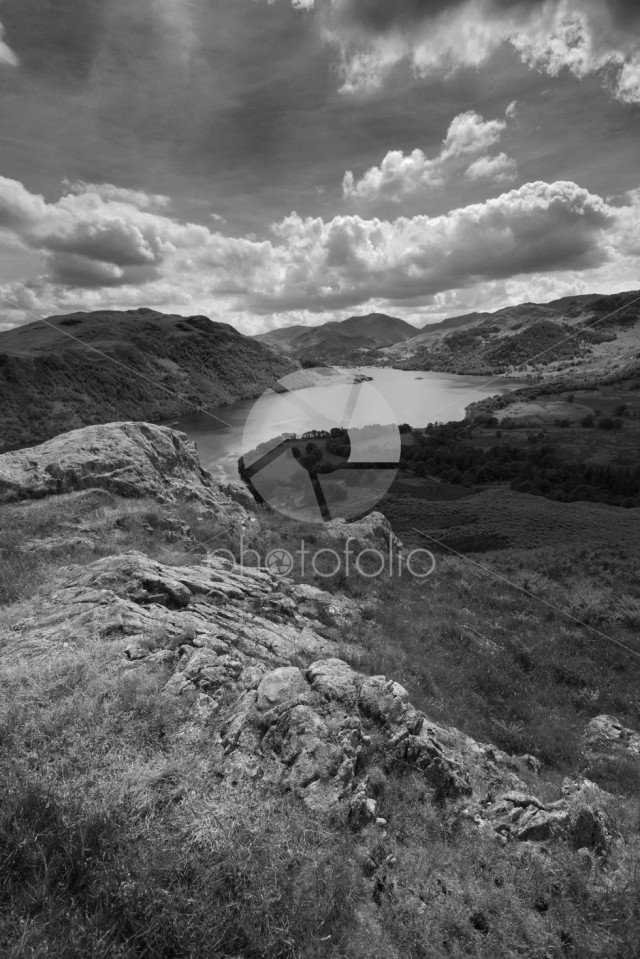 View of Ullswater from Green Hill crag, Gowbarrow fell, Lakes