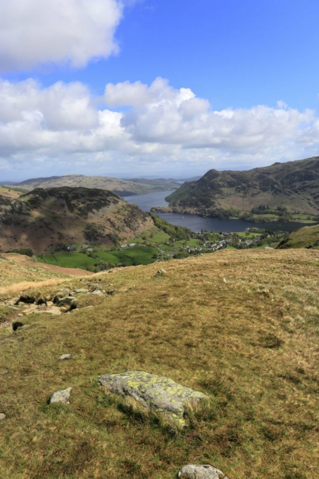 View of Glenridding village and Ullswater lake, Lake District