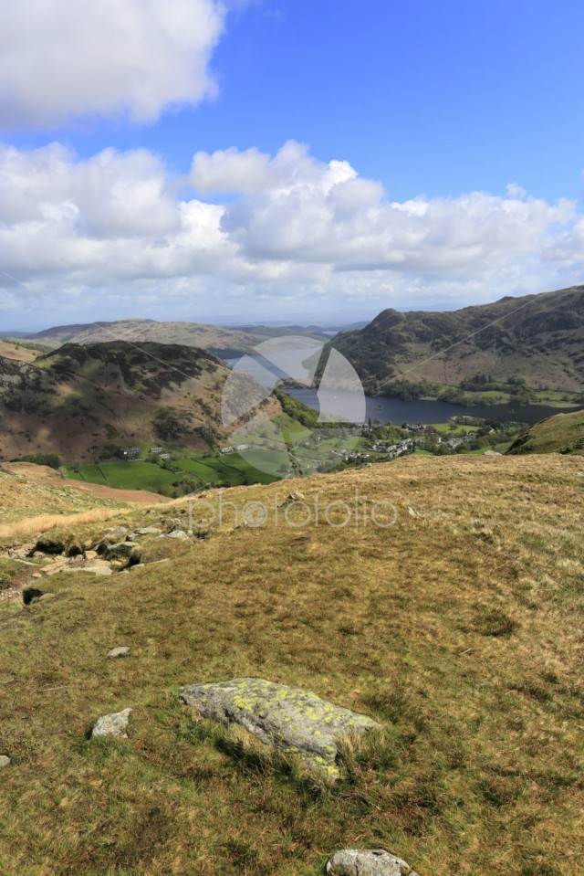 View of Glenridding village and Ullswater lake, Lake District