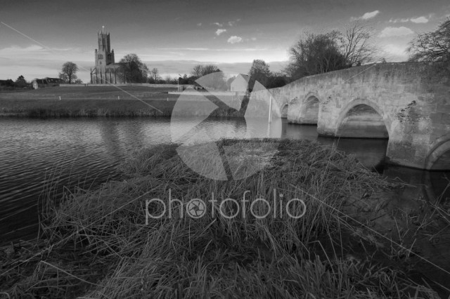 Winter sunset, St Marys Church, river Nene, Fotheringhay village