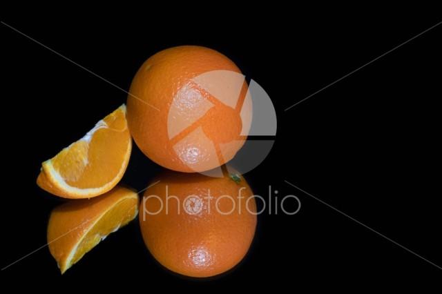 Orange and slice isolated
