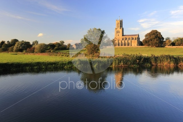 Autumn, St Mary and all Saints church, river Nene, Fotheringhay