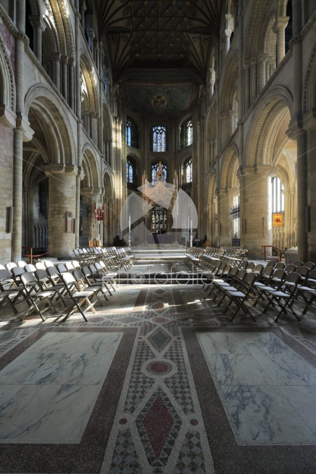 Interior of Peterborough City Cathedral, Cambridgeshire; England