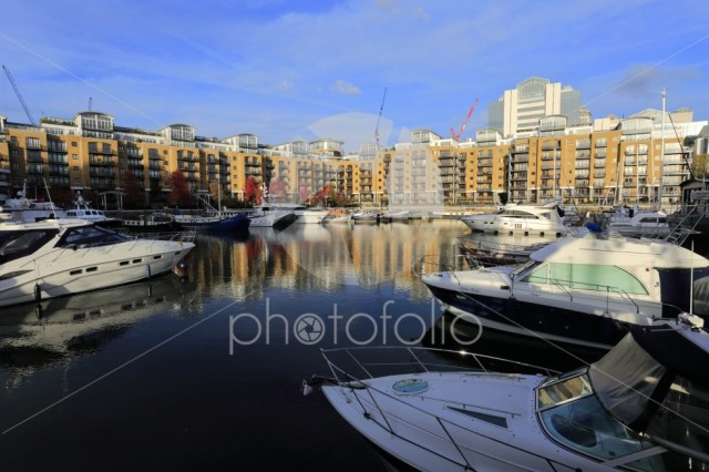 Boats in St Katherines dock, North Bank river Thames, London