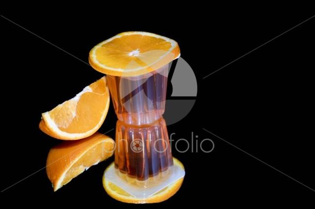 Orange jelly and fresh fruits isolated