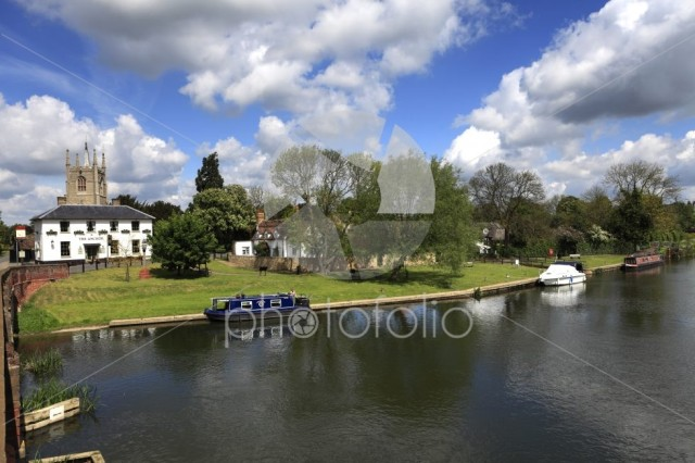 Summer view of the bridge over the river Great Ouse