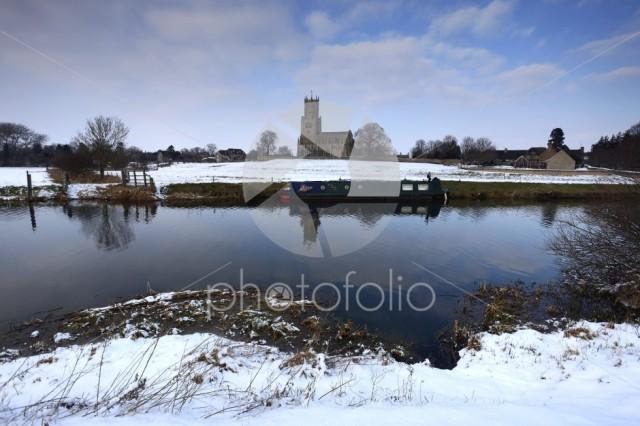 Winter Frost, St Marys Church, river Nene, Fotheringhay village