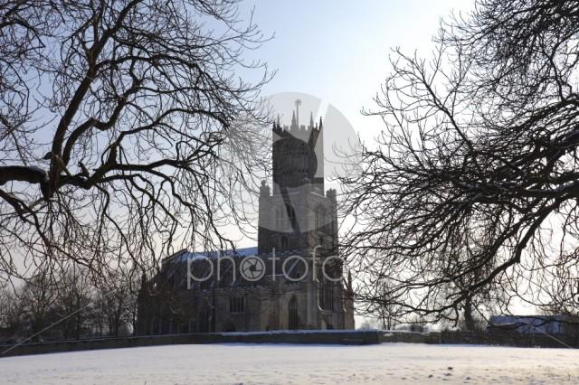 Winter Frost, St Marys Church, river Nene, Fotheringhay village,
