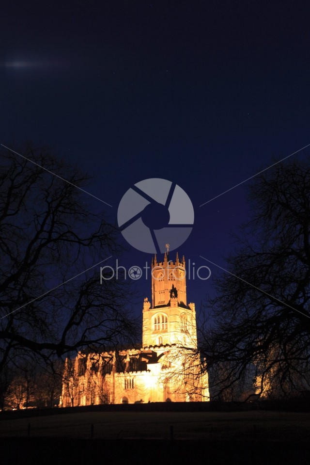 Nightime view of St Marys Church, river Nene, Fotheringhay