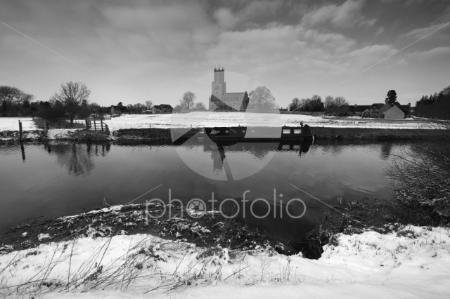 Winter Frost, St Marys Church, river Nene, Fotheringhay village