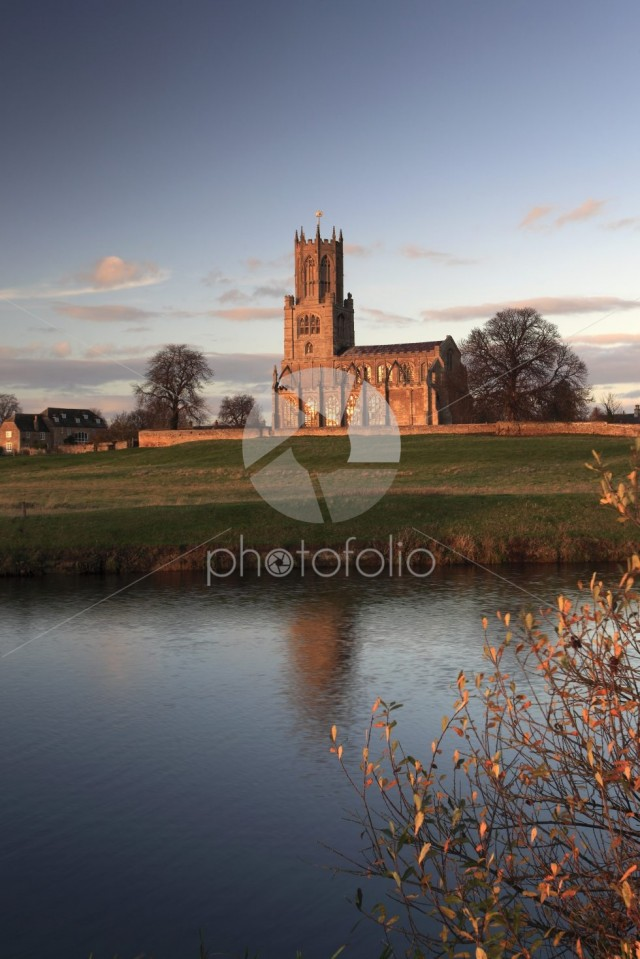 Autumn sunset, St Marys Church, river Nene, Fotheringhay village